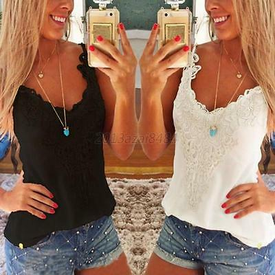 Sexy Women Ladies Summer Slim Casual Sleeveless Shirt Lace Vest Tank Tops Blouse
