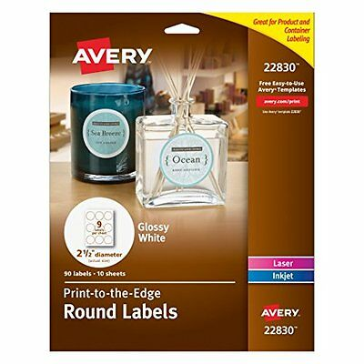Avery Print To The Edge Round Labels Glossy White 2.5in Diameter 90 Labels 22830