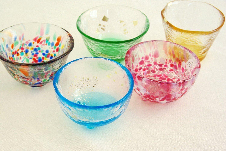 Tsugaru Biidor Mini Sake Glass 5 Different Colour Set Aderia JP Great for Gift