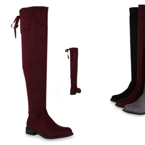 Damen Overknees Schuhe Stiefel Satinoptik Strass 818329 Trendy
