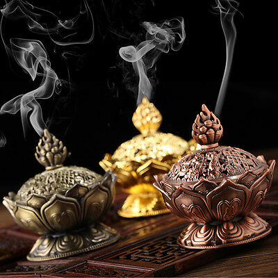 Tibetan Lotus Designed Alloy Metal Bronze Craft Incense Burner Home Decor F5