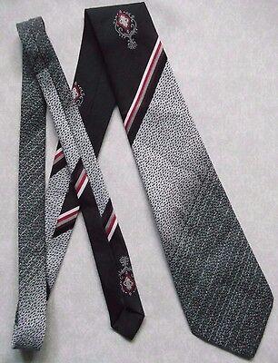 Vintage Tootal Cravatta Da Uomo Vasta Cravatta Retrò Alla Moda Cravatta Nero Rosso Crested-mostra Il Titolo Originale