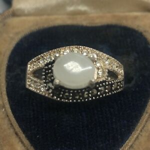Vintage-Sterling-Silver-Ring-925-Size-8-Signed-SPM-CZ-Clear-Stone-Marcasite