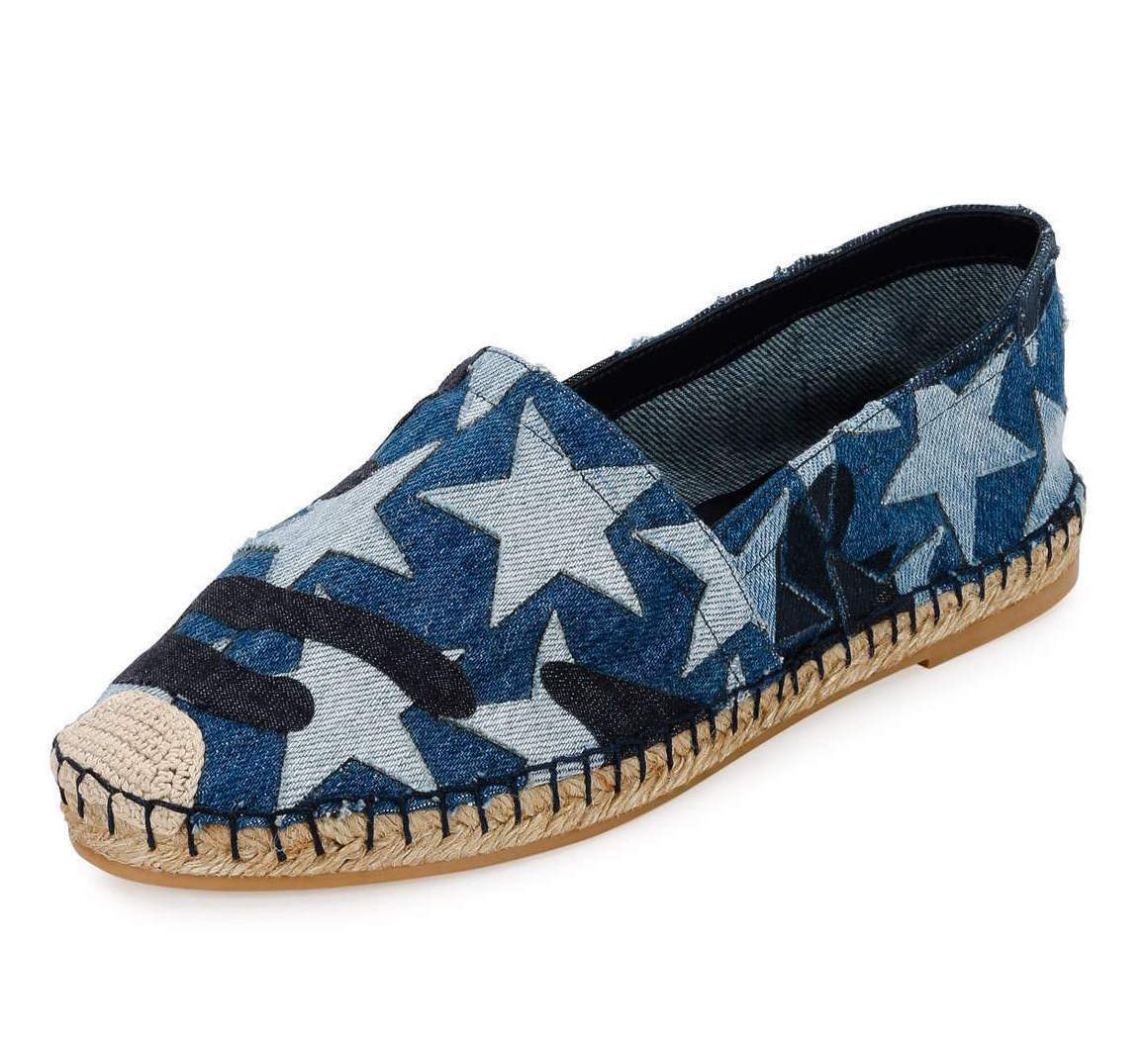 VALENTINO Star Denim Espadrille Flat, Light - Denim - Light NEW SIZE /US 9.5 8734ed