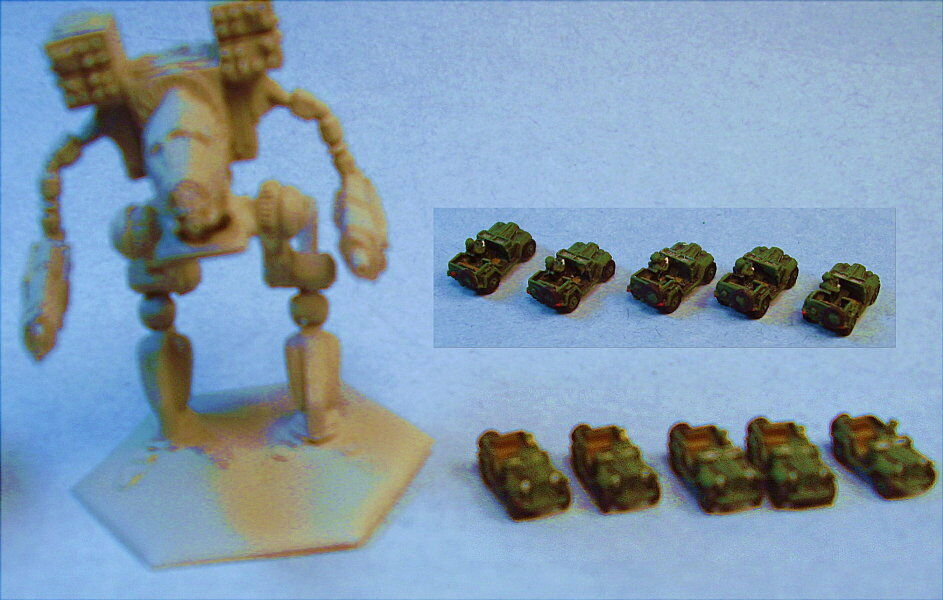 GHQ miniatures suitable for Battletech GAZ jeeps (5)