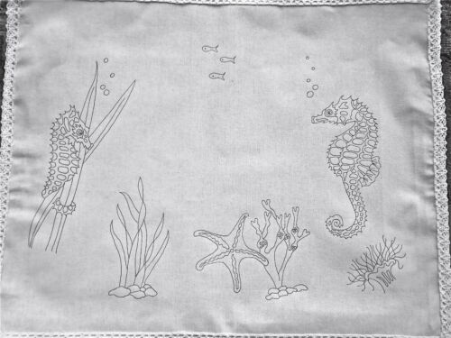 Ready to embroider Tray Cloth Seahorse Design 100/% cotton with Lace edge CSOO78