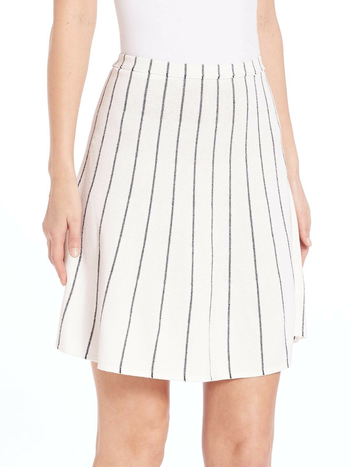 Theory Lotamee Evian Knit Skirt Ppinkcco Ivory Navy Striped A-Line M  275 9130