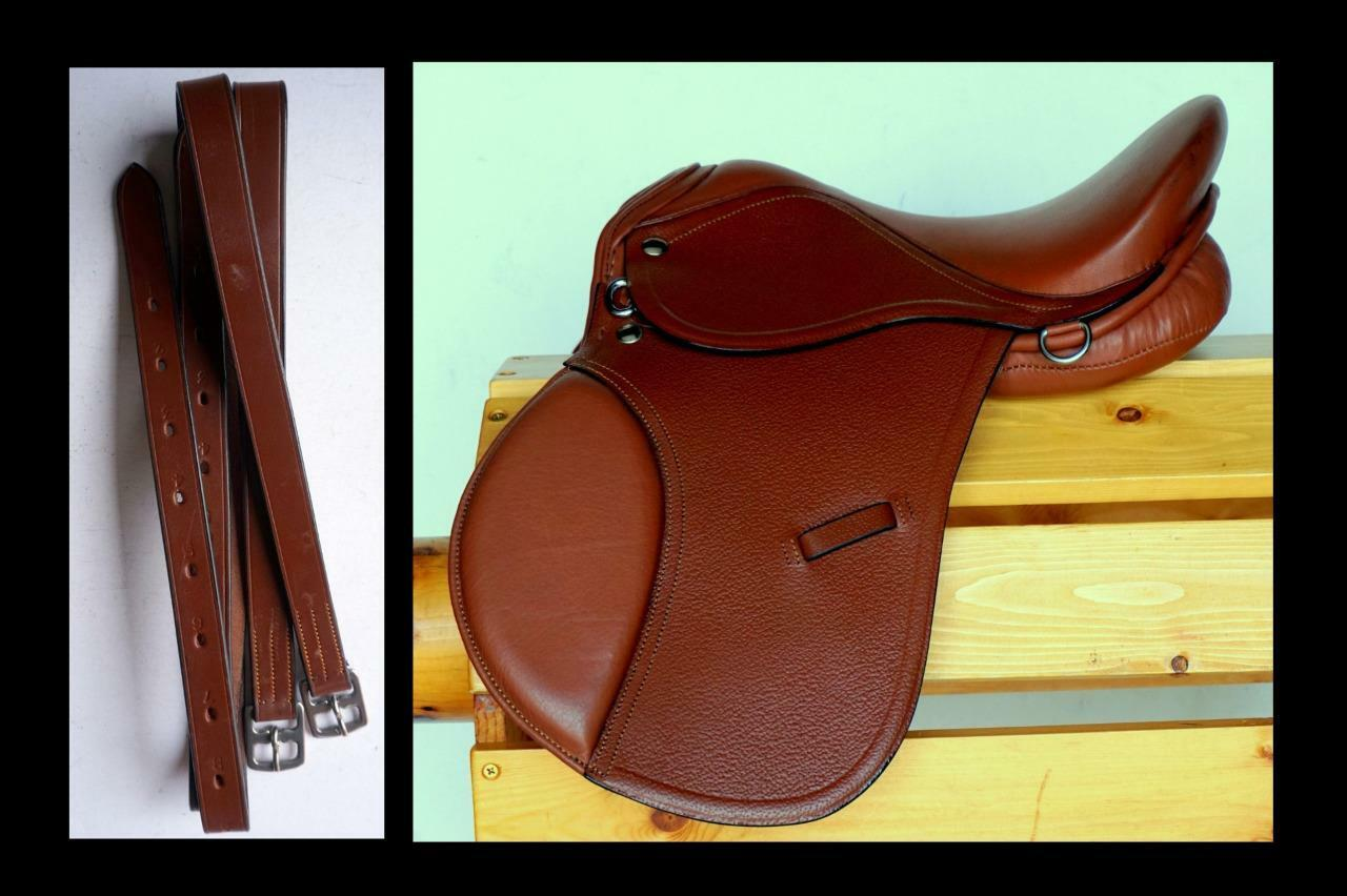 16  English All purpose Show Trail English Saddle Leathers-48   54  Rich TAN