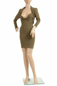 Dsquared2-Women-039-s-Wool-Olive-Green-Long-Sleeve-Bodycon-Mini-Dress-US-XS-IT-38
