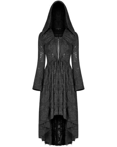 Punk Rave femme gothique à Capuche Manteau Veste robe noire manteau Sorcière occulte Grunge