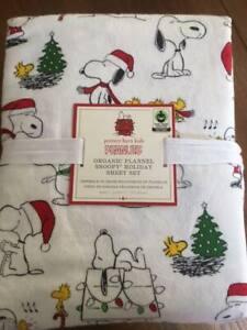 Pottery Barn Kids Peanuts Queen Flannel Sheet Set 100 Organic Snoopy Christmas Ebay