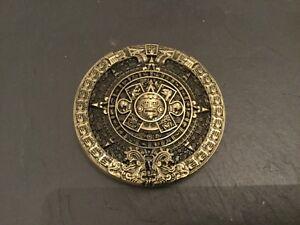 MAYAN-Calendrier-Rond-Nouveau-Boucle-de-ceinture-en-metal-argente-etain-Maya-Azteque