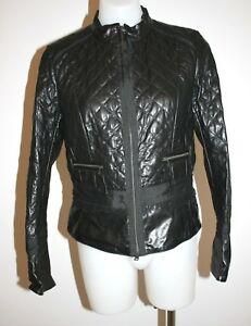 MARCCAIN-black-fitted-soft-leather-jacket-size-2-AU-8-10-900-NEW