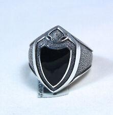New David Yurman Men's Black Onyx Armory Shield Ring Sterling Silver Sz 10 $550