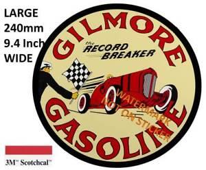 VINTAGE-GILMORE-FUEL-GASOLINE-PETROL-BOWSER-DECAL-STICKER-LABEL-LARGE-240-MM