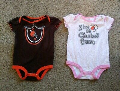 save off 39f55 7af31 TWO Cleveland Browns Infant Toddler One Piece Outfits Size ...