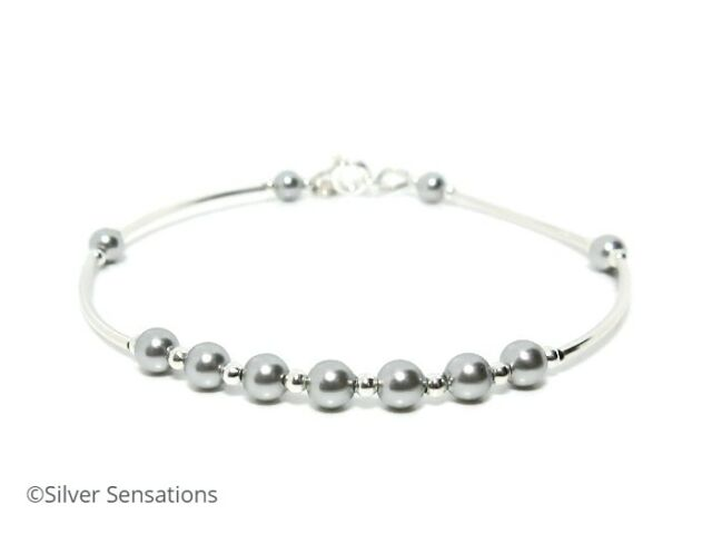 5d6cd5c30d2f8 Light Grey Swarovski Pearls & Sterling Silver Handmade Wedding Bangle  Bracelet