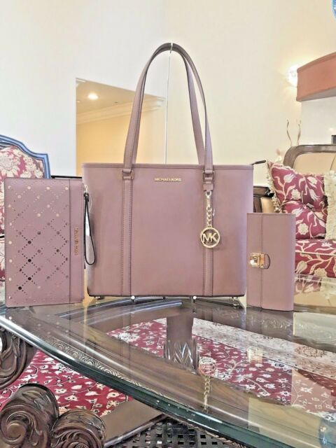1e135f60d8f7 Michael Kors Sady Medium N s Top Zip Tote Bag Saffiano Leather in Ballet