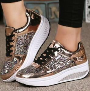 a8f733adbc39 Image is loading Fashion-Women-Sequins-Sneakers-Glitter-Bling -Casual-Trainer-