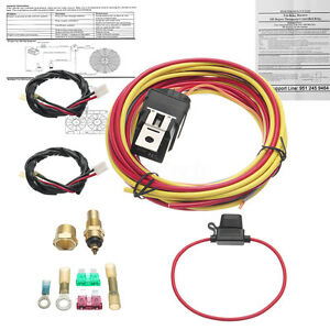 165 To 185 Dual Electric Fan Relay Wiring Harness Thermostat Sensor Universal Fan Relay Wiring on fuel pump wiring, universal wiring harness, universal tail light wiring, wiper switch wiring, universal fuel gauge wiring, dimmer switch wiring,