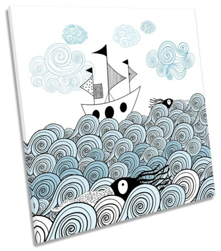 Ship Ornamental Sea Waves Picture CANVAS WALL ART Square Print Blue