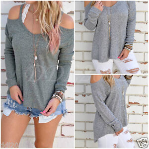 Women-Long-Sleeve-Loose-Strapless-Casual-Cold-Off-Shoulder-T-Shirt-Blouse-Tops