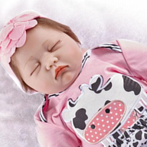 22Lifelike Reborn Baby Doll Newborn Handmade Soft Silicone Vinyl Sleeping Girl