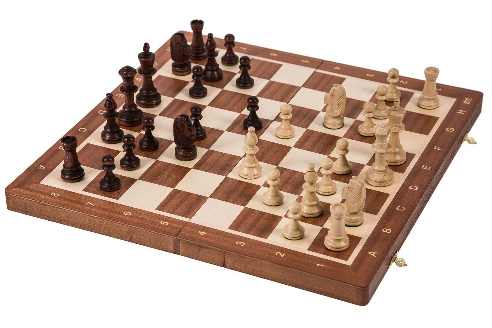 SQUARE - Wooden Chess Set No. 5 - MAHAGONY - Chessboard & Chess Pieces