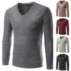Pullover Men Slim V Neck Sweater Long Sleeve Shirt Sweaters Wool Casual Knitwear