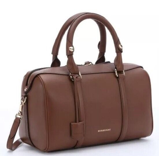 Burberry Medium Alchester Leather Tan Bowler Handbag Crossbody Brown Ebay
