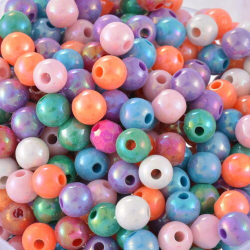 """3//8/"""" Dia. 300PCS Wholesale Lots Mixed AB Color Round Acrylic Spacer Beads 8mm"""