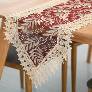 Vintage-Lace-Table-Runner-Floral-Embroidered-Wedding-Party-Banquet-Decoration