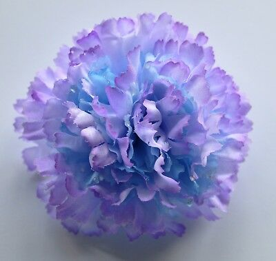 "3/"" Blue /& Yellow Carnation Silk Flower Hair Clip Wedding Handmade"