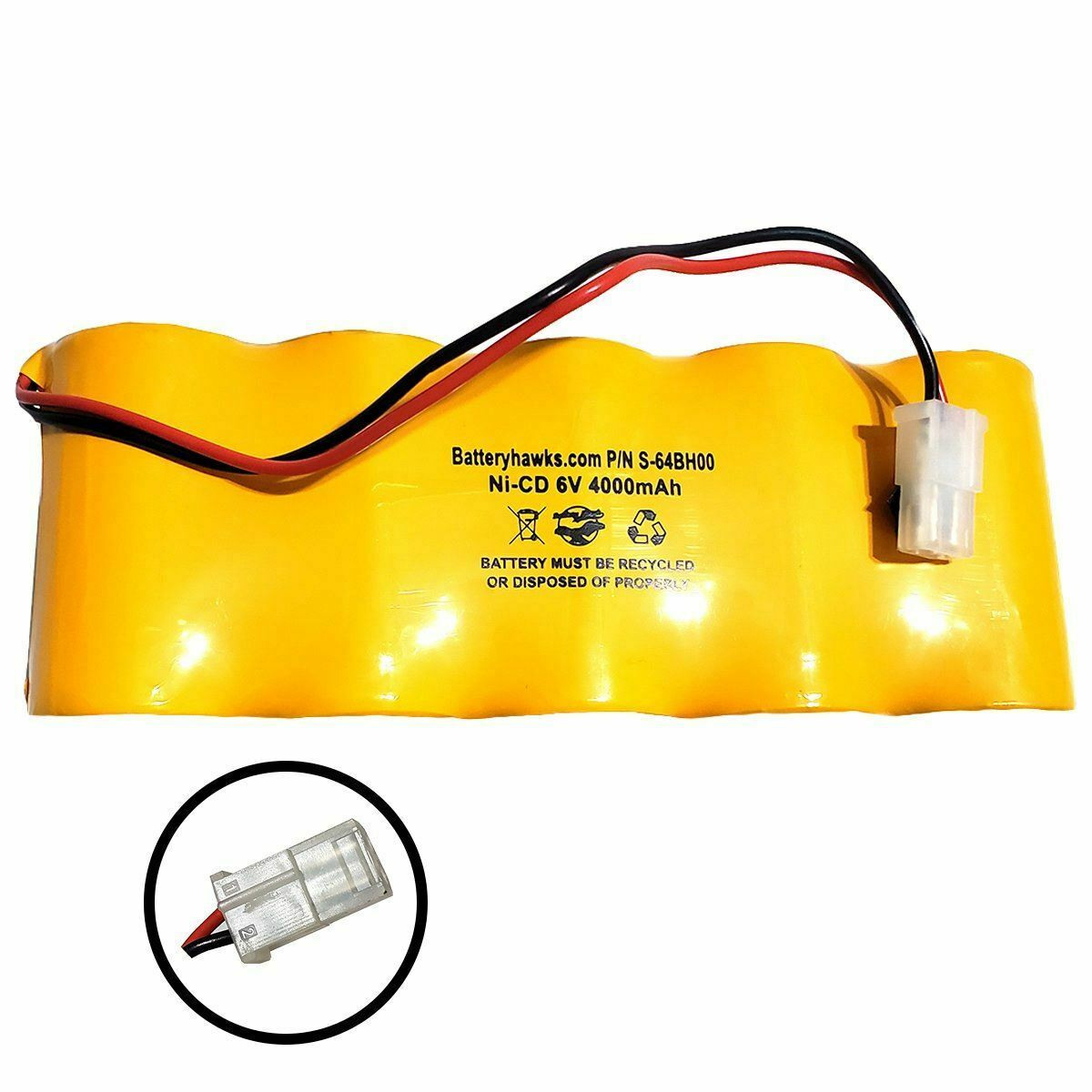 (FLAT) 6v 4000mAh Ni-CD Battery Pack Replacement for Exit Sign Emergency Light