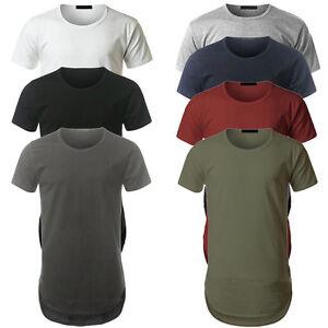 Mens-Longline-curved-hem-T-shirt-Top-Street-fashion-Long-Body-Tee-Tall-Elongated