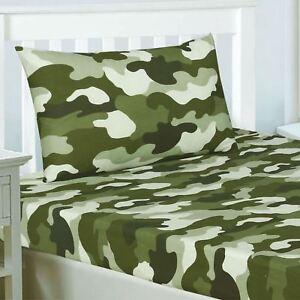Camouflage-Armee-Drap-Simple-amp-Set-Taie-D-039-Oreiller-Kaki-Vert-Camouflage