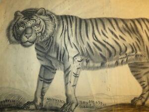 Ecole FRANCAISE XIX DESSIN PIERRE NOIRE TIGRE FELIN ORIENTALISTE DRAWING 1850