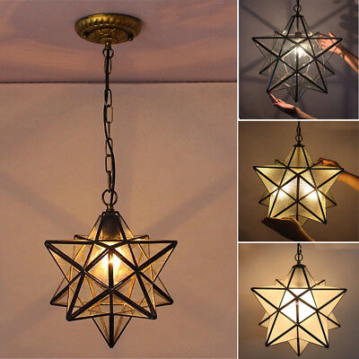 Antique Moravian Star Pendant Light Metal Glass Shade Lamp