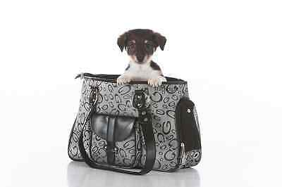 DISCRETE GRAY DESIGNER PET AIRLINE CARRIER BAG PURSE FOR SMALL DOGS CATS ANIMALS