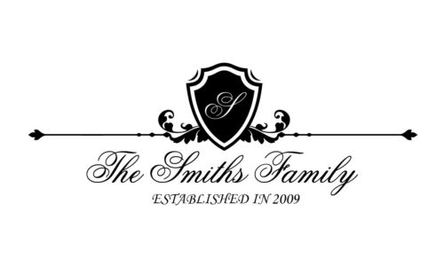 Personalized Family Name and Monogram Custom Wall Sticker Lettering Vinyl Decal