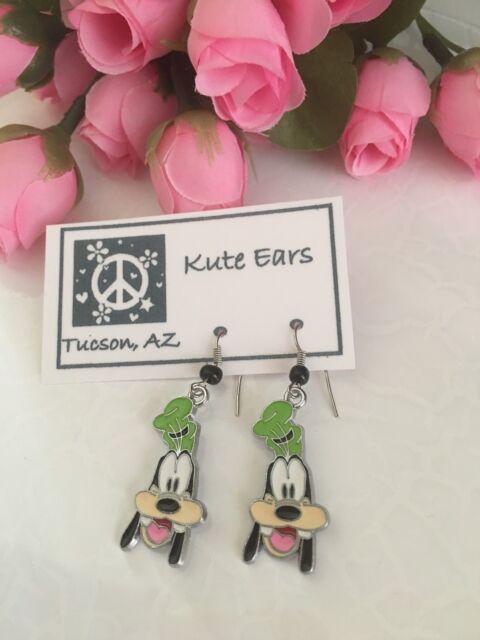 Silvertone Goofy Mickeys Dog Friend Green Hat Dangle Earrings