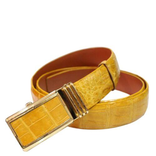 Yellow Genuine Alligator Crocodile Leather Skin Men/'s Belt W 3.2cm