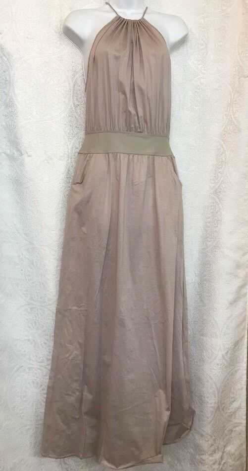 Eres Long Dress Sand Sleeveless Cotton Halter Nwt Size S M  565