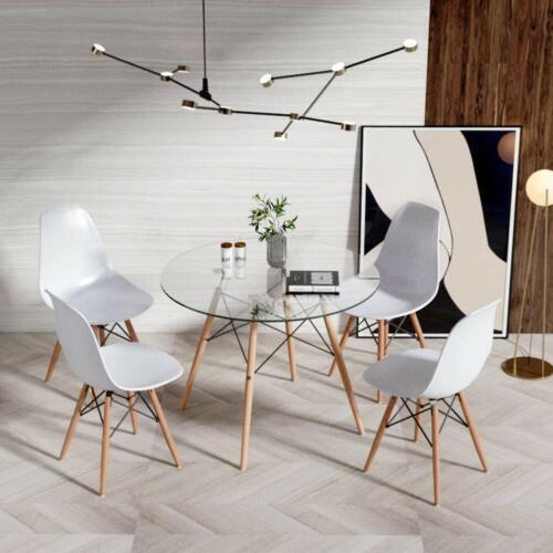 Detalles de Mesa de Cristal Redonda Mesa de Comedor Nordica Moderna Con 4  sillas de comedor