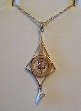 Victorian 14k yg Old European Diamond & Baroque Pearl Lavalier Pendant .12 ct