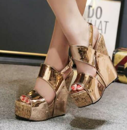 Womens gold Patent Leather High Wedge Platform Open Toe Sandals Buckle shoes D48