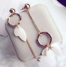 1Pair Elegant Women Gold Circle Ear Stud Pearl Chain Dangle Earrings