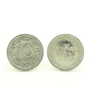 Gemelli-camicia-moneta-Autentico-034-Spagna-034-10-centimos-Franco