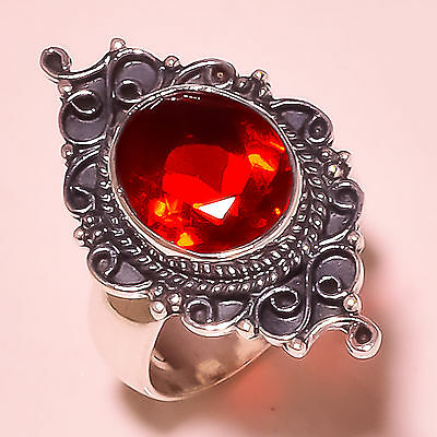 FACETED MOZAMBIQUE GARNET VINTAGE STYLE  925 STERLING SILVER RING SIZE 7  US