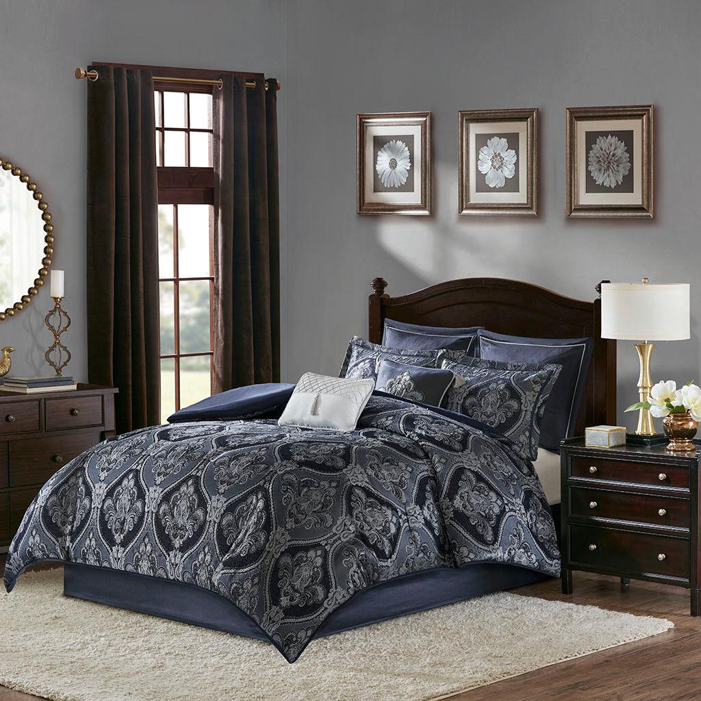 Luxurious Blau Jacquard Damask Silky Comforter 8 pcs Cal King Queen Set